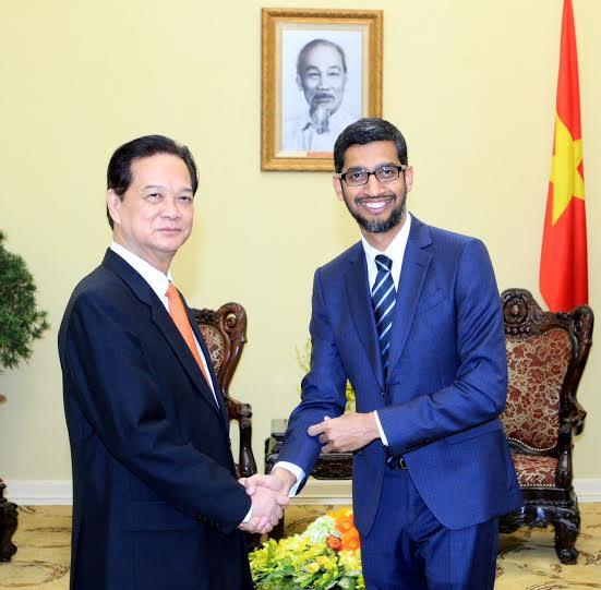 Ngày 22/12/2015, tại Trụ sở Chính phủ, Thủ tướng Nguyễn Tấn Dũng tiếp Tổng giám đốc điều hành Google Sundar Pichai. Ảnh: Thống Nhất-TTXVN