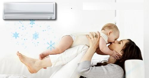 Sử dụng máy lạnh cho trẻ sơ sinh