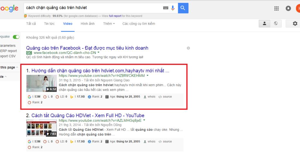 Video được lên top 1 tìm kiếm của google