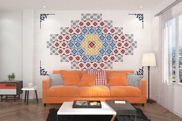 Gạch bông ốp tường phối ngẫu nhiên dùng trong phòng khách