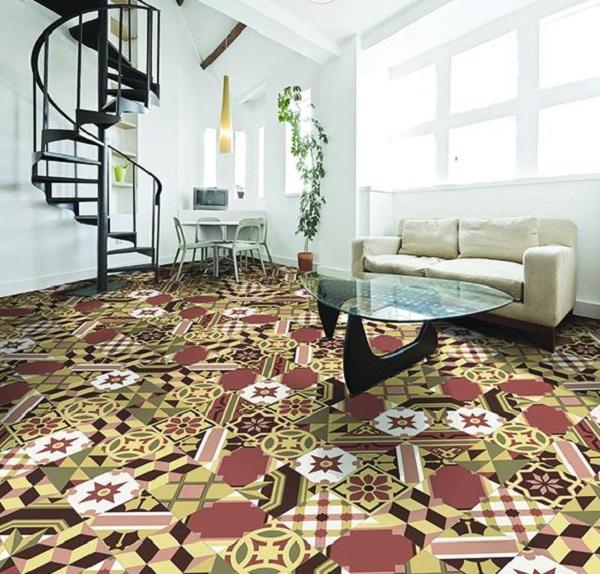 Lót sàn bằng gạch bông ốp tường phối ngẫu nhiên