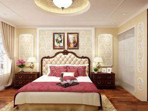 Phòng ngủ mang đậm phong cách kiến trúc tân cổ điển trong khách sạn