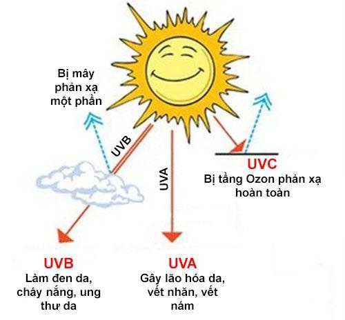Các loại tia cực tím từ ánh nắng mặt trời