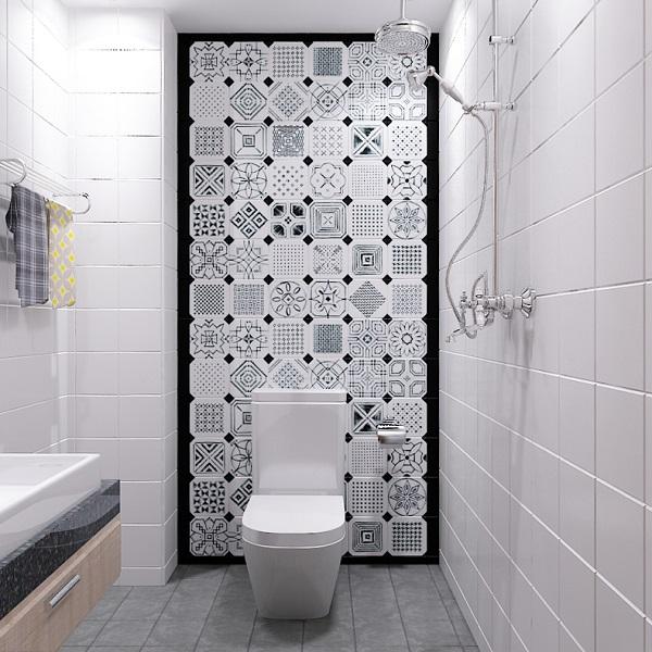 Tông màu xanh da trời thường được dùng để trang trí gạch ốp tường trong phòng tắm
