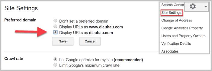 Cài đặt reffering domain