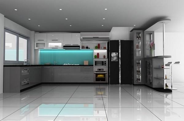 Xây tủ bếp acrylic đẹp đang là xu hướng nội thất mới