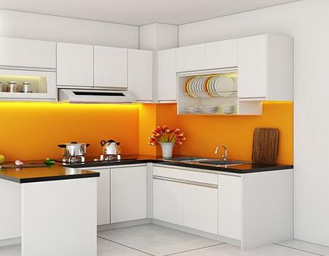 Mẫu kính ốp bếp màu cam