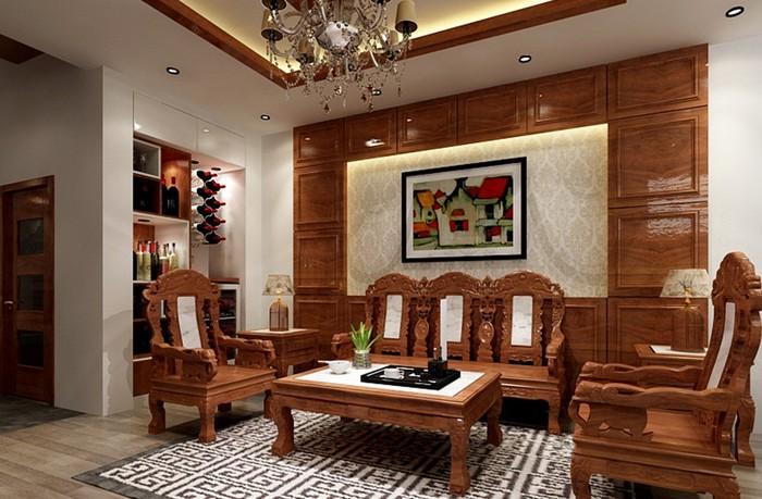 Bàn ghế gỗ phòng khách hiện đại mang lại sự hài hòa cho không gian