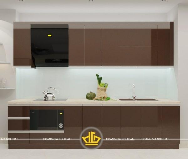 Mẫu tủ bếp Acrylic An Cường màu nâu