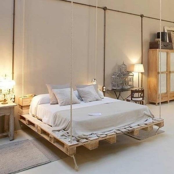 Giường pallet kết hợp dây treo