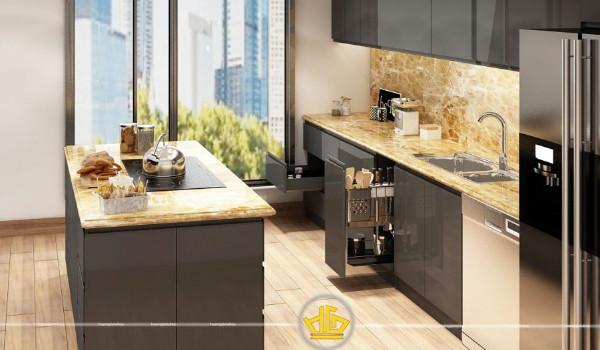 Mẫu tủ bếp acrylic cao cấp đẹp ấn tượng