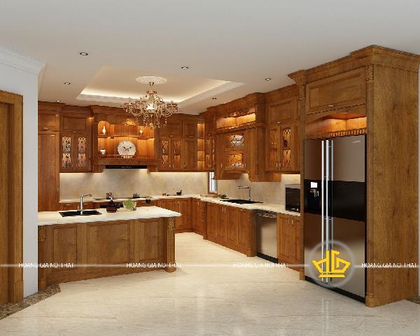 Lựa chọn vật liệu thiết kế nội thất tủ bếp tân cổ điển